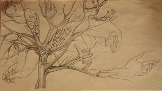 Sepia hand tree 4